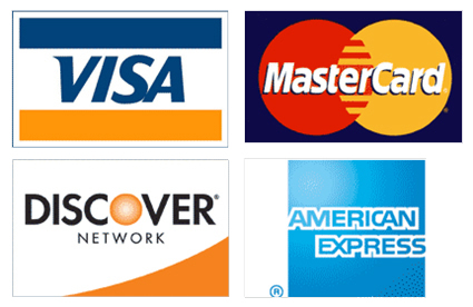 We Accept Visa, MC, Disc and Amex